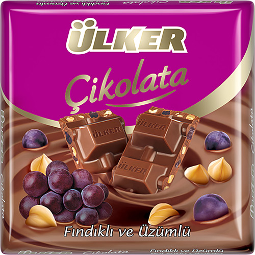 Ülker - Milky Chocolate with Hazelnut and Grape 70 gr