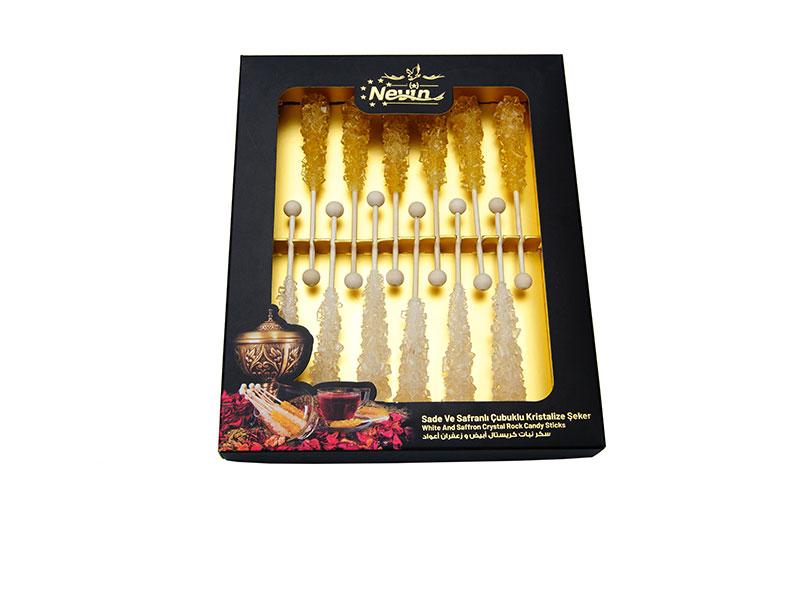 - Saffron Sugar and White Sugar Candy Stick 12 Pieces